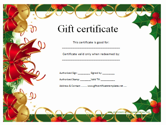 Free Holiday Gift Certificate Template Fresh Christmas T Certificate Template Certificate Templates
