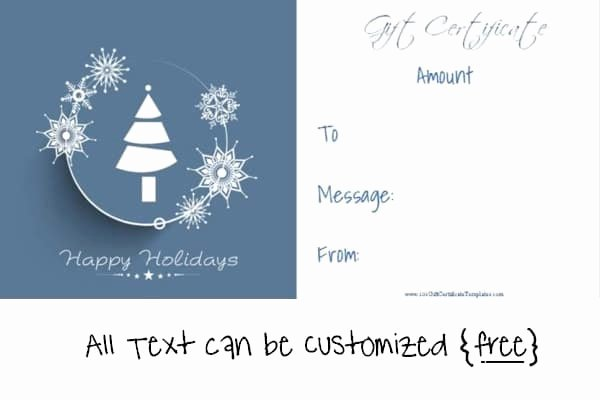 Free Holiday Gift Certificate Template Fresh Free Editable Christmas Gift Certificate Template
