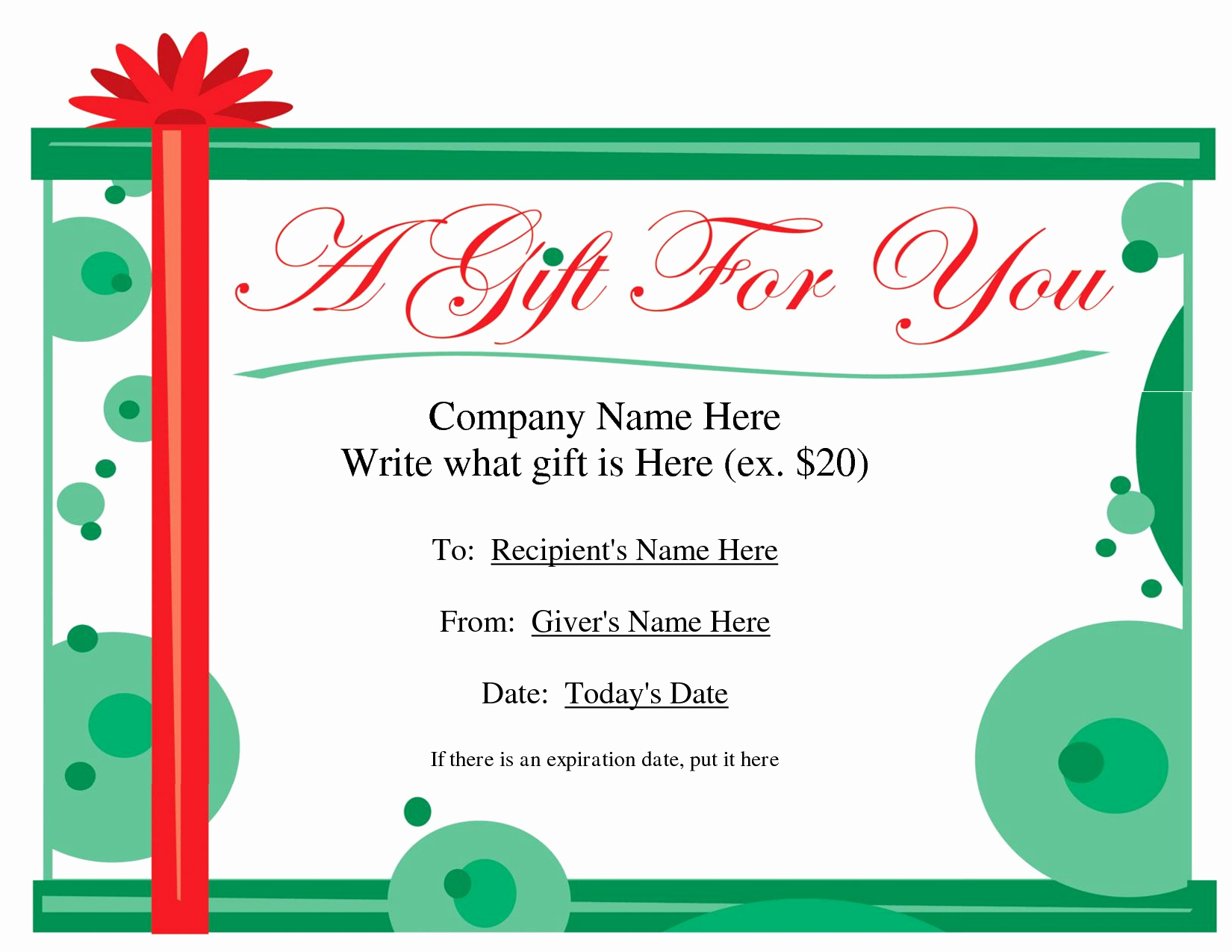 Free Holiday Gift Certificate Template Fresh Free Printable Gift Certificate Template