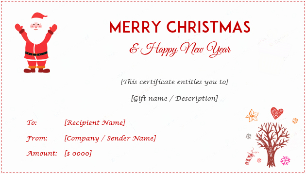 Free Holiday Gift Certificate Template Inspirational 24 Christmas & New Year Gift Certificate Templates