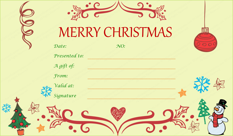 Free Holiday Gift Certificate Template Lovely Festive Decorating Christmas Gift Certificate Template