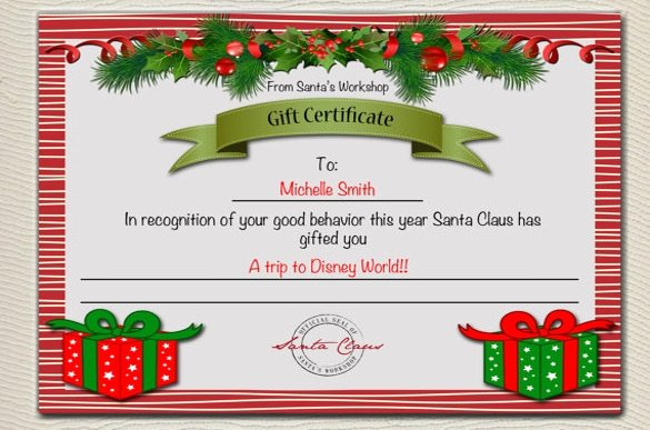 Free Holiday Gift Certificate Template Lovely Santa Certificate Template Invitation Template