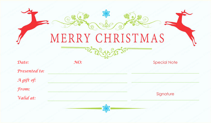 Free Holiday Gift Certificate Template Luxury Double Reindeer Christmas Gift Certificate Template