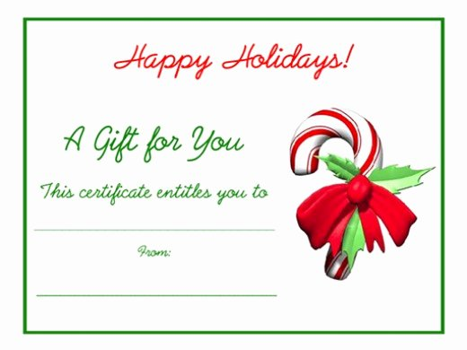 Free Holiday Gift Certificate Template Luxury Free Holiday Gift Certificates Templates to Print