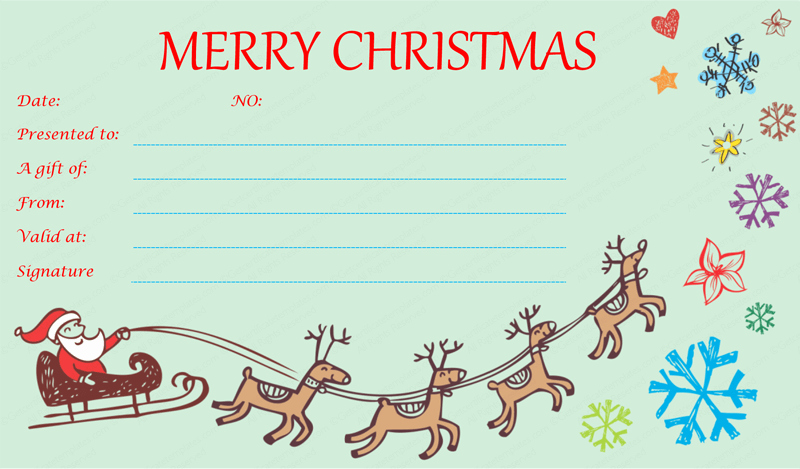 Free Holiday Gift Certificate Template New Flying Reindeer Christmas Gift Certificate Template