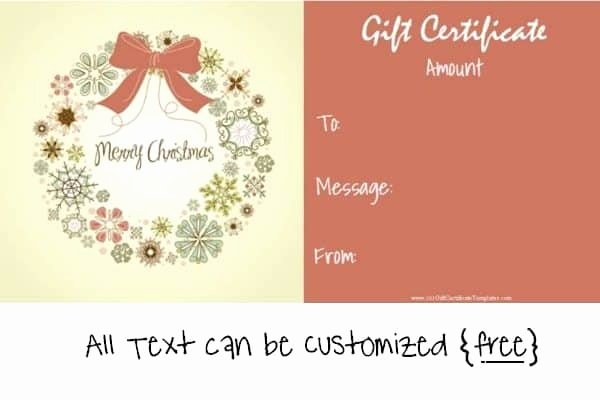 Free Holiday Gift Certificate Template New Free Editable Christmas Gift Certificate Template