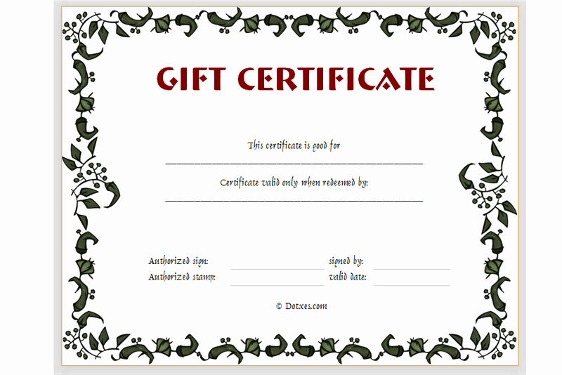 Free Holiday Gift Certificate Template New Gift Certificate Template Floral Design Dotxes