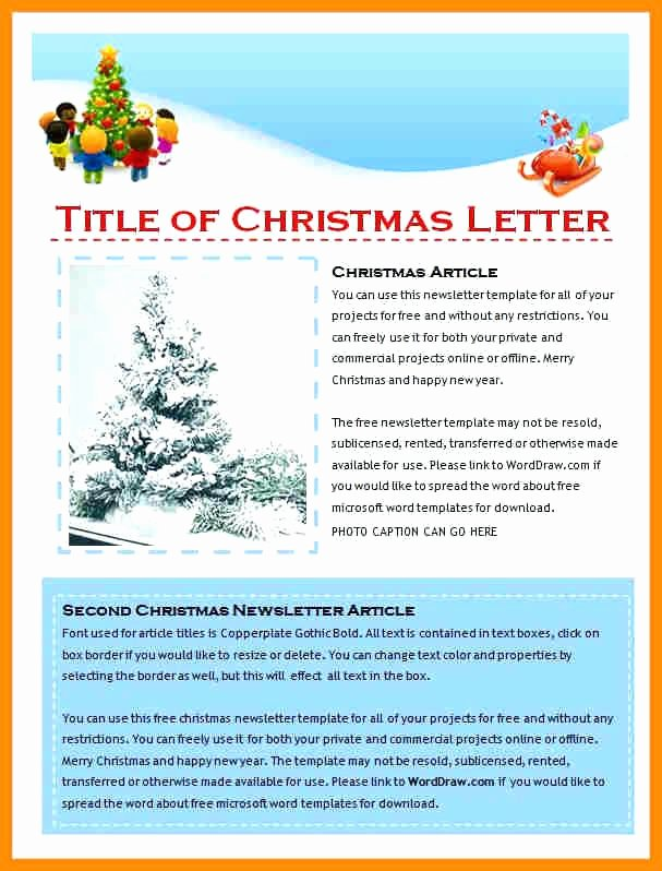 Free Holiday Newsletter Template Awesome Christmas Newsletter Template Newsletter Template Word