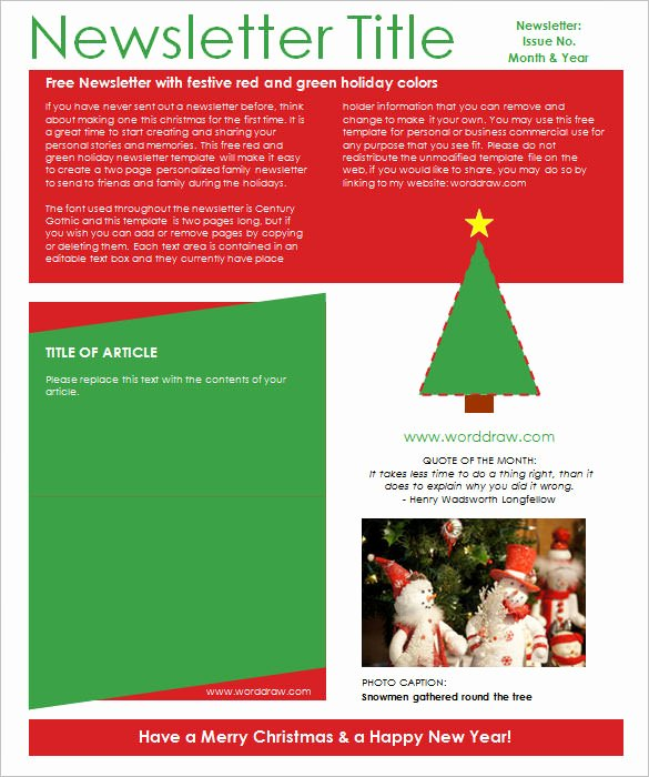 Free Holiday Newsletter Template Lovely 9 Christmas Newsletter Templates – Free Sample Example