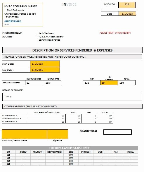 Free Hvac Invoice Template Beautiful Hvac Invoice form Free Download