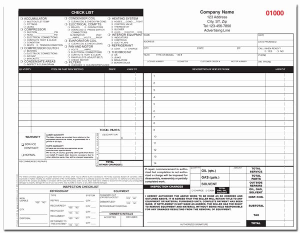 Free Hvac Invoice Template Best Of Auto Hvac Invoice Repair Service form