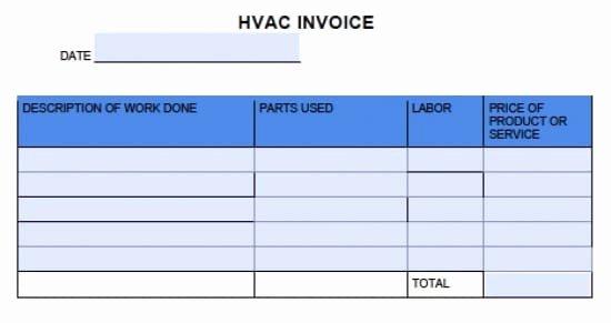 Free Hvac Invoice Template Elegant Free Hvac Invoice Template Excel Pdf Word Doc Hvac forms