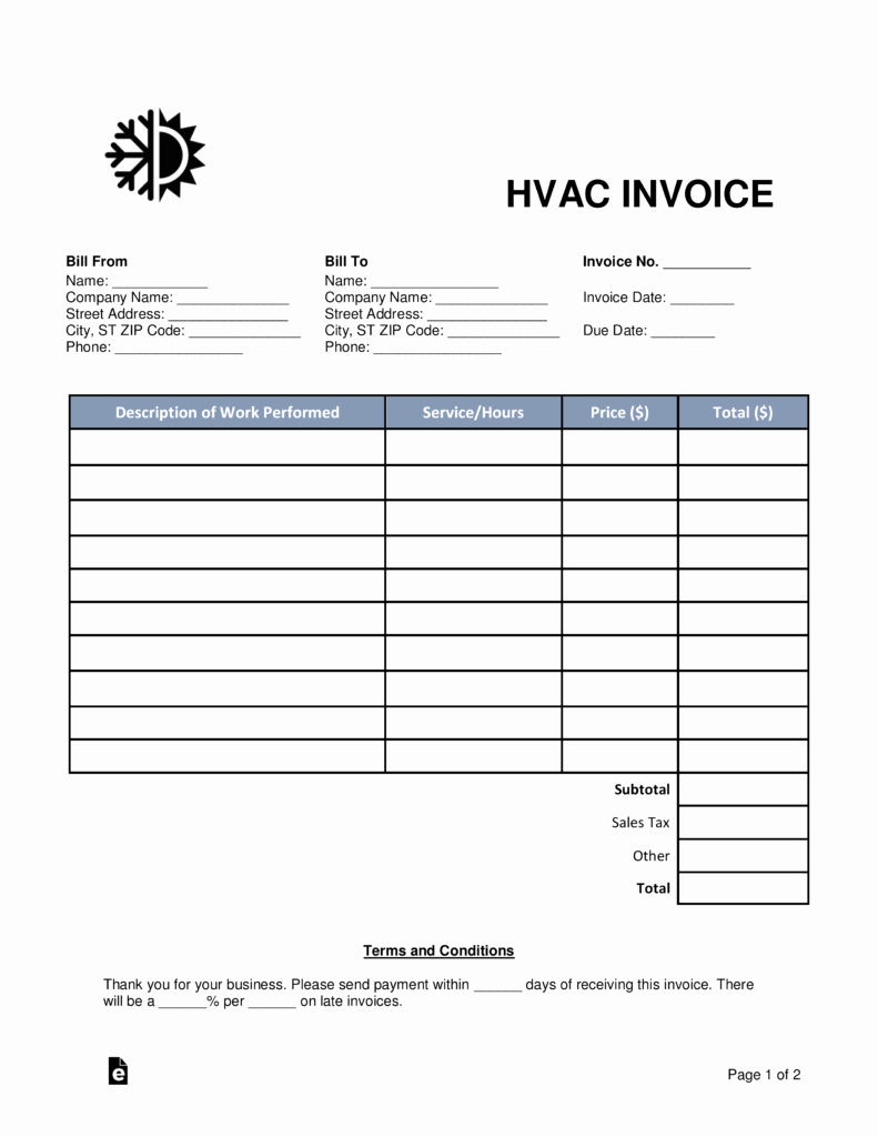 Free Hvac Invoice Template Fresh Free Hvac Invoice Template Word Pdf