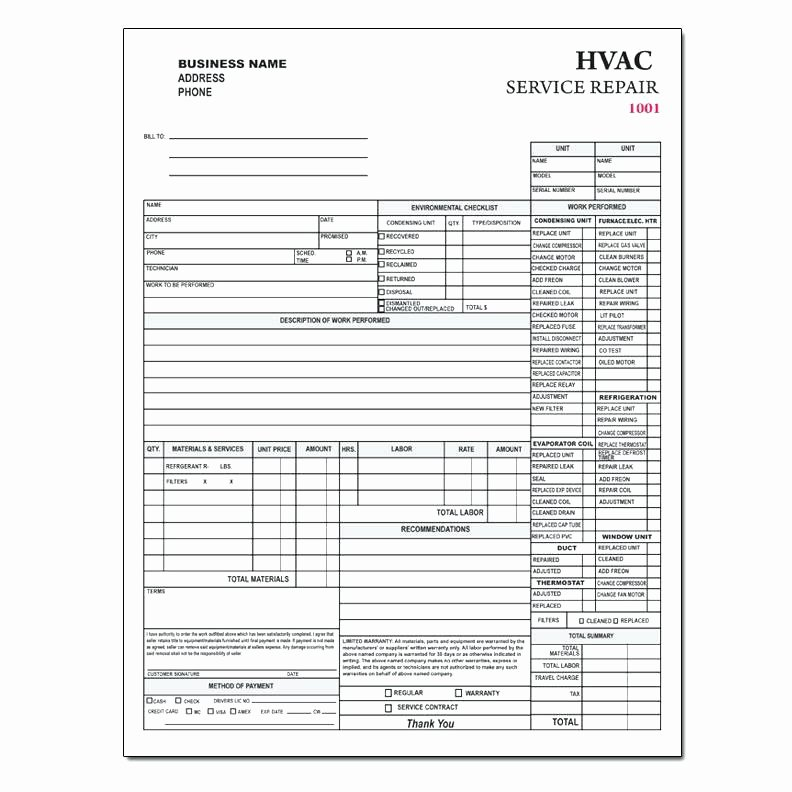 Free Hvac Invoice Template Inspirational Service Invoice Template Free Contractor form Custom