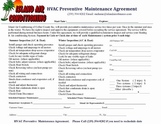 Free Hvac Maintenance Contract Template Awesome Preventive Maintenance island Air