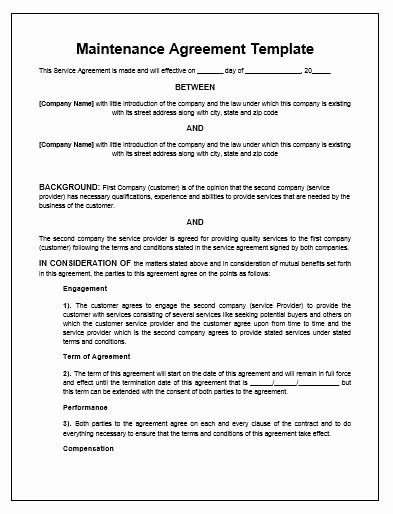 Free Hvac Maintenance Contract Template Fresh Maintenance Agreement Template