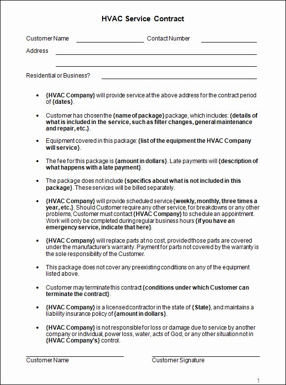 Free Hvac Maintenance Contract Template New Service Agreement Contract Sample
