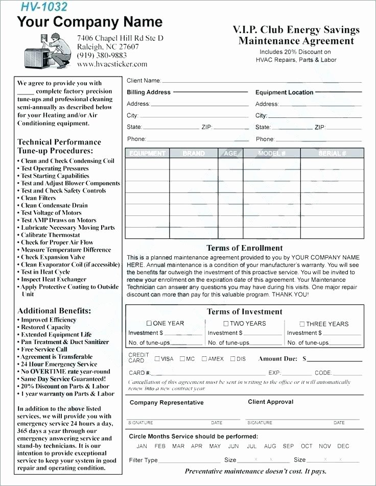 Free Hvac Maintenance Contract Template Unique 95 Hvac Service Agreement forms Free Vehicle Owner