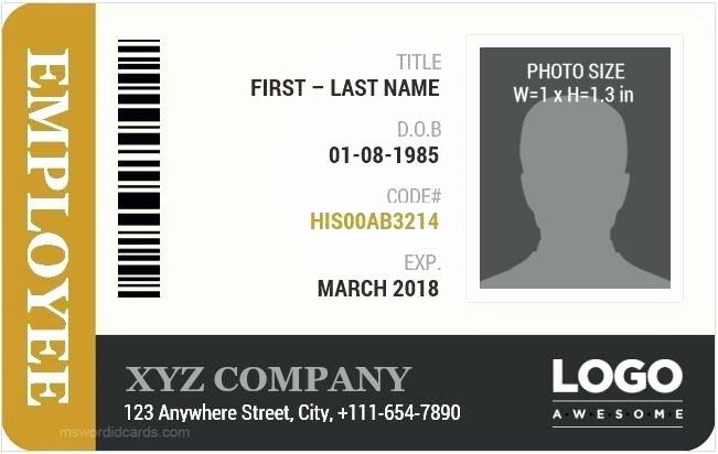 Free Id Card Template Word Awesome Employee Id Badge Template Free Download Card Vector Blank