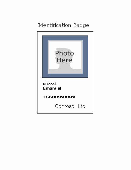 Free Id Card Template Word Lovely Employee Photo Id Badge Portrait