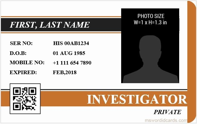 Free Id Card Template Word Unique 5 Best Investigator Id Card Templates Ms Word