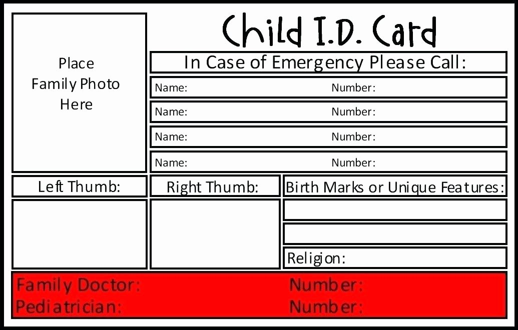 Free Id Card Template Word Unique Contact Card Template Free Printable Word Emergency