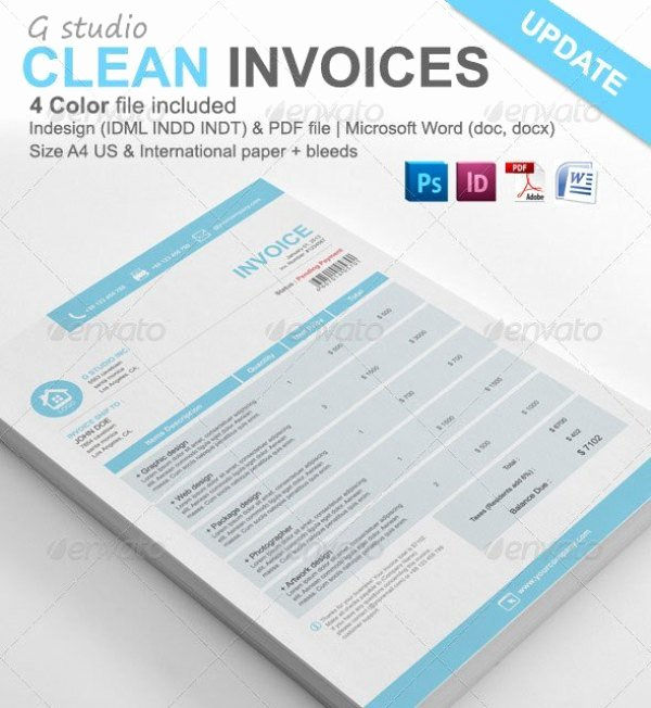 Free Indesign Invoice Template Beautiful 38 Invoice Templates Psd Docx Indd Free Download