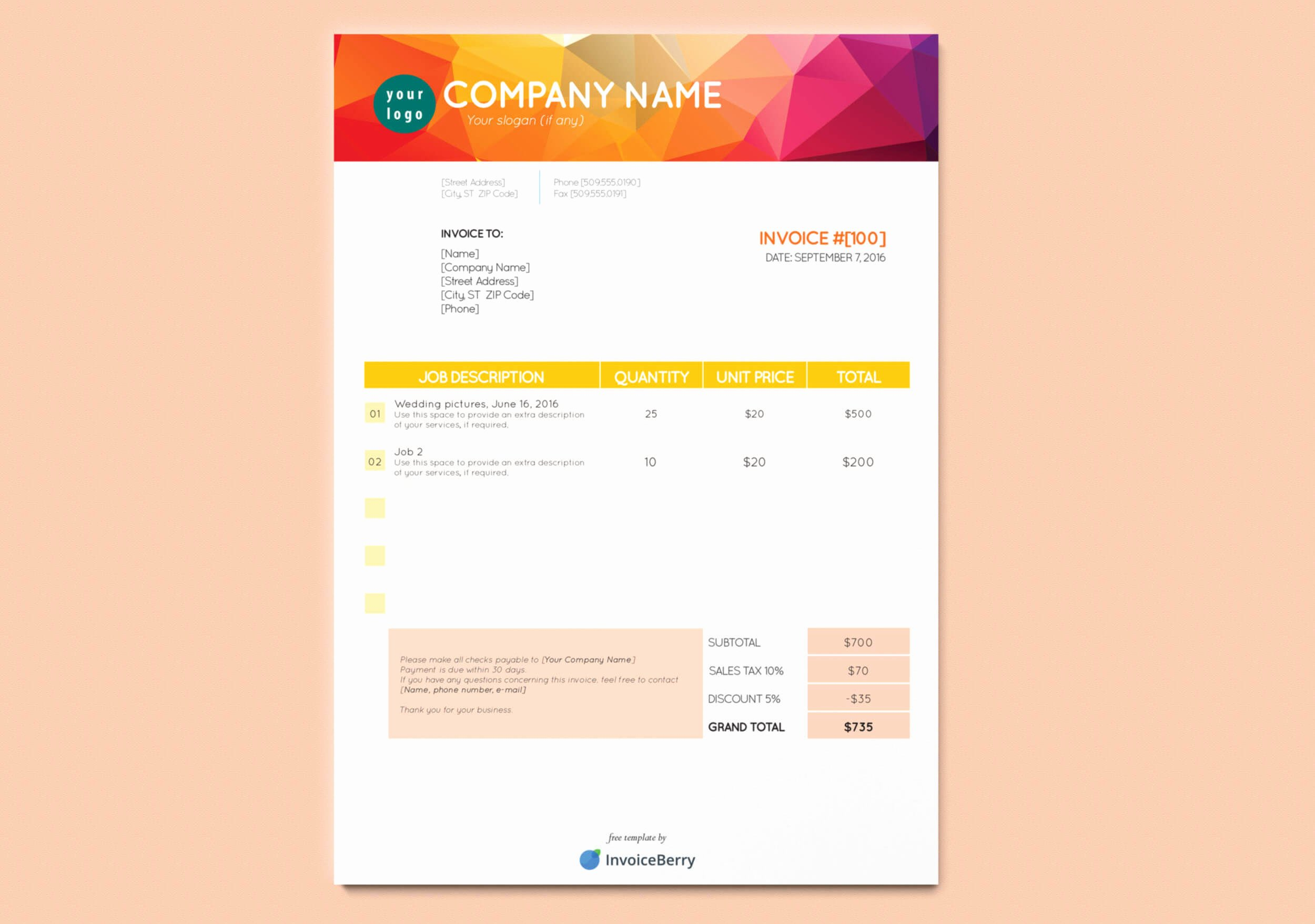Free Indesign Invoice Template Luxury Free New Indesign Invoice Templates