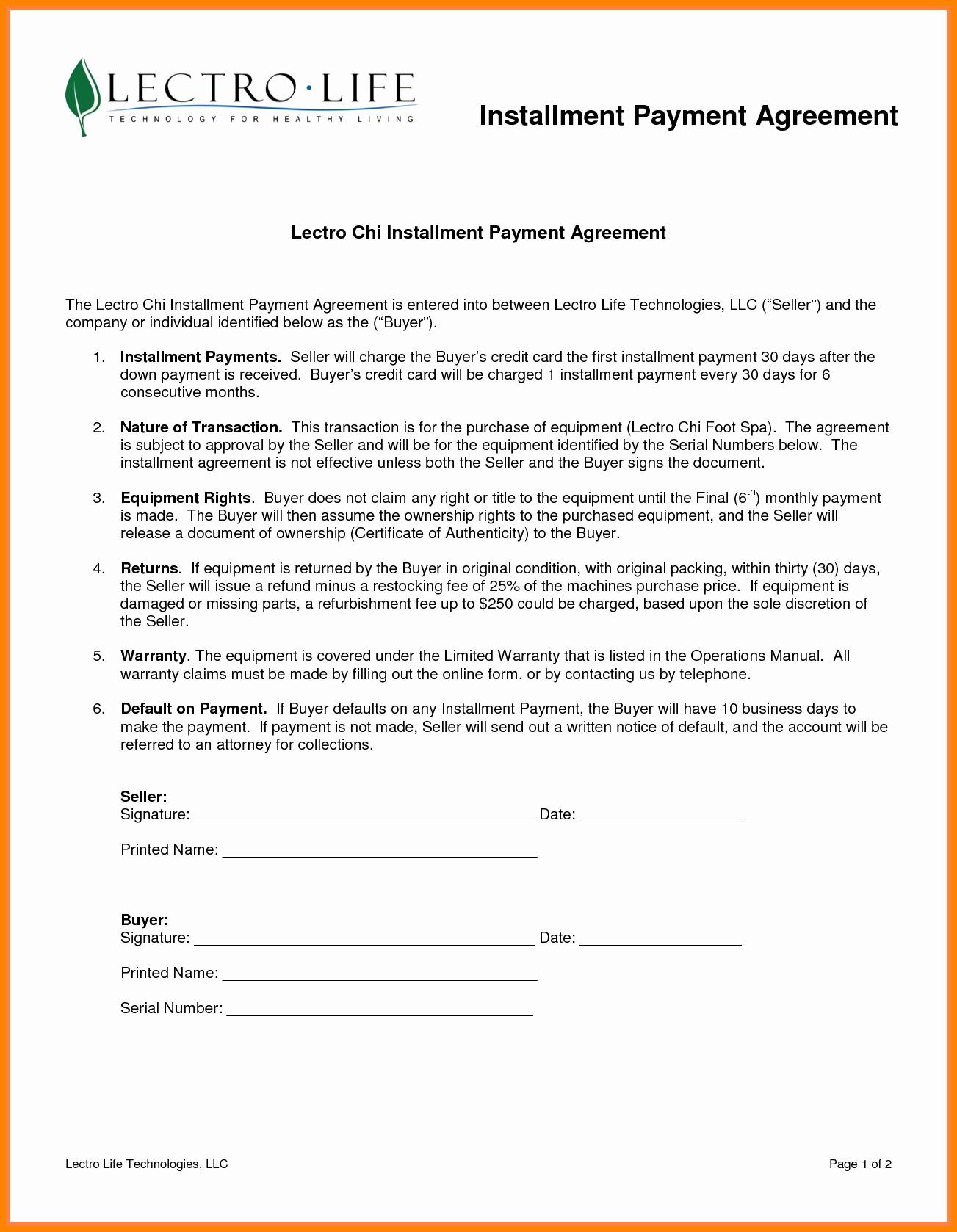 Free Installment Payment Agreement Template Inspirational 7 Installment Payment Plan Agreement Template