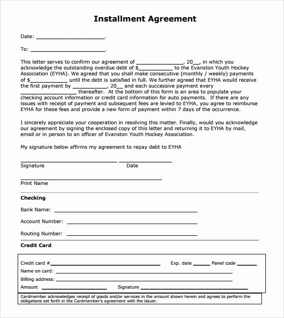 Free Installment Payment Agreement Template Lovely Installment Agreement – 7 Free Samples Examples format