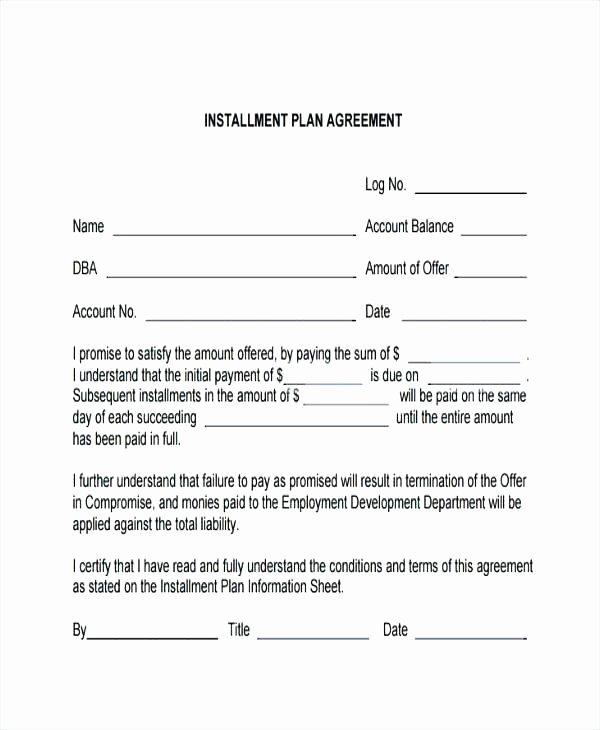 Free Installment Payment Agreement Template Lovely Payment Contract Template Payment Contract Template