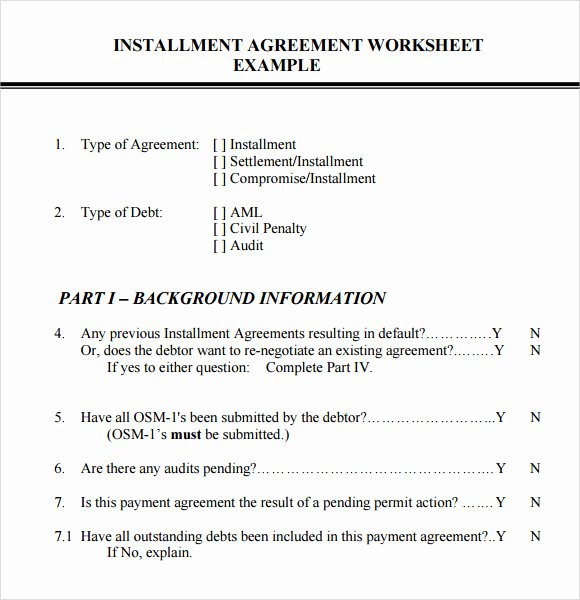 Free Installment Payment Agreement Template New Installment Agreement – 7 Free Samples Examples format
