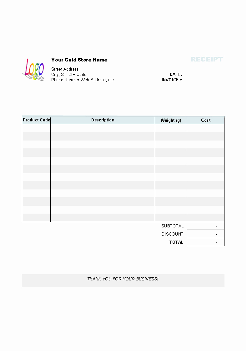 Free Invoice Receipt Template Beautiful Gold Shop Receipt Template Uniform Invoice software