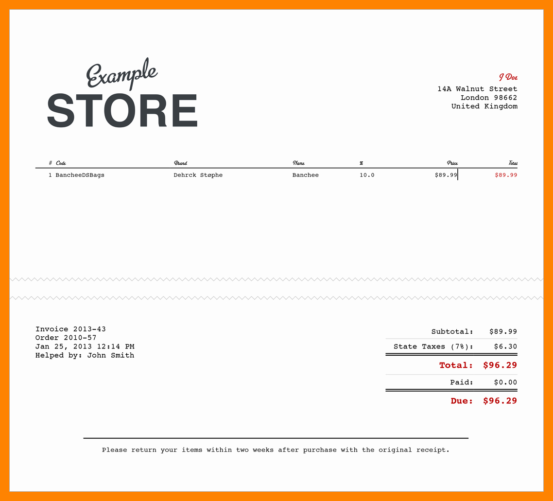 Free Invoice Receipt Template Unique 11 Electronic Receipts Template