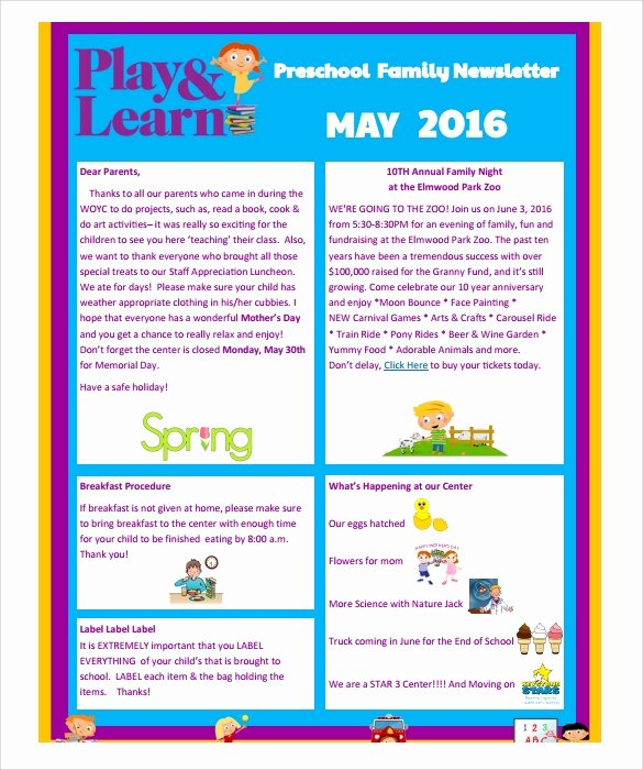 Free Kindergarten Newsletter Template Fresh Sample Preschool Newsletter 8 Free Download for Word Pdf