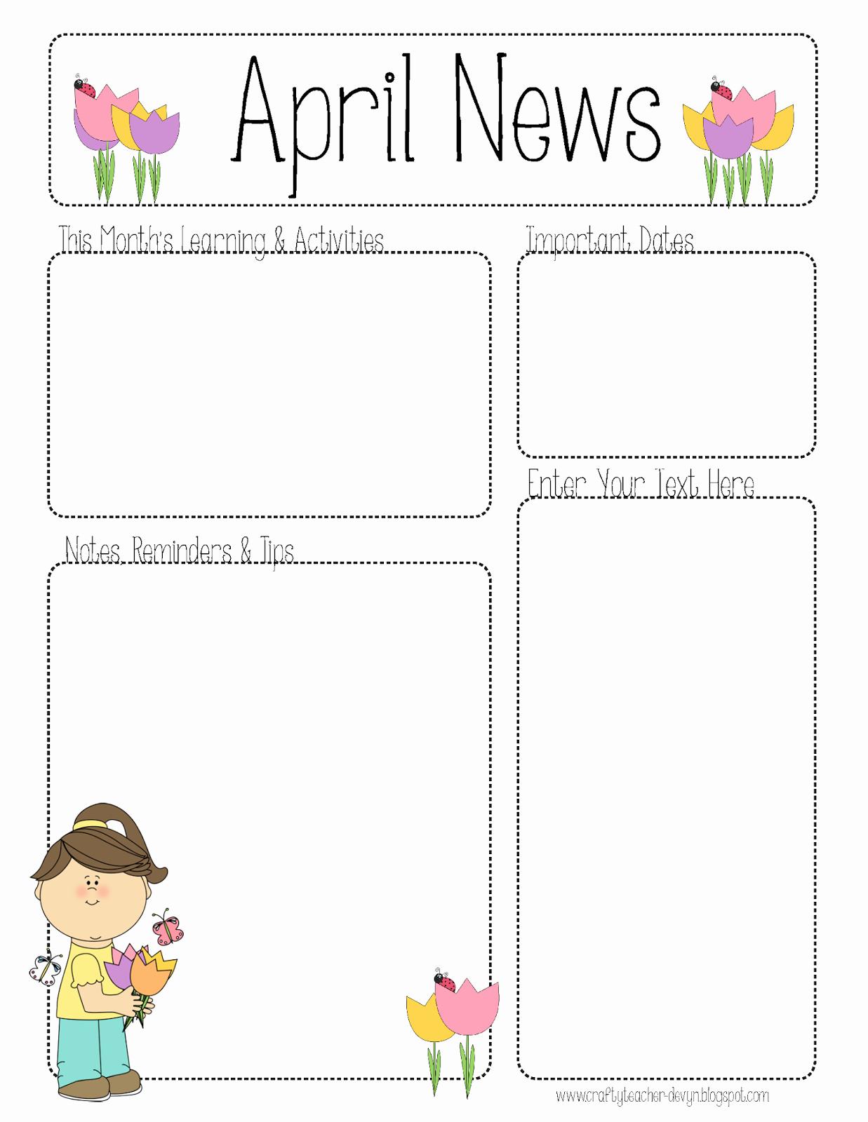Free Kindergarten Newsletter Template Inspirational April Newsletter for All Grades