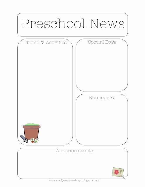 Free Kindergarten Newsletter Template Inspirational Gardening themed Preschool Newsletter Template