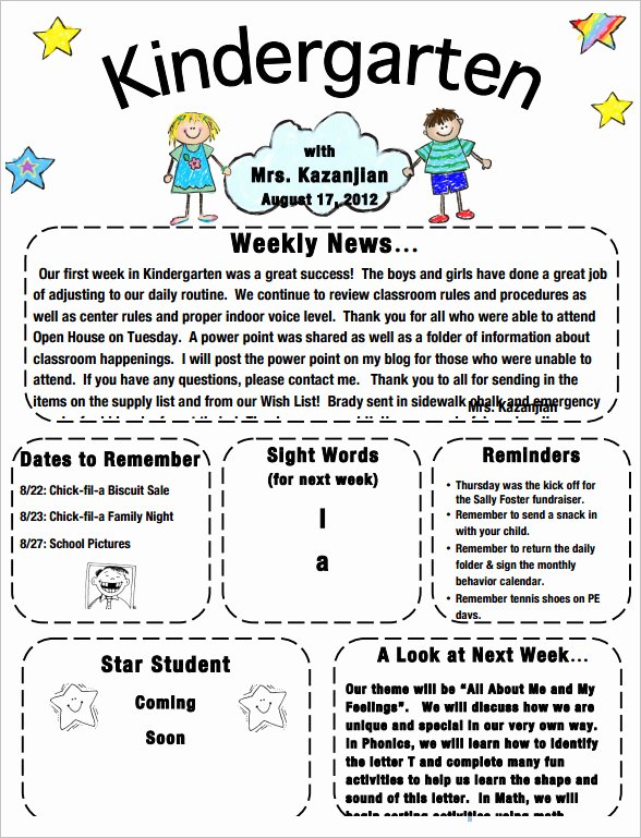 Free Kindergarten Newsletter Template Inspirational Sample Kindergarten Newsletter Template 15 Free