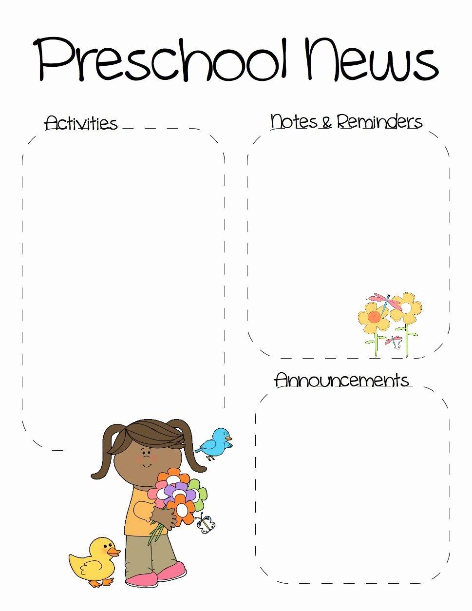 Free Kindergarten Newsletter Template Inspirational Spring Preschool Newsletter Template