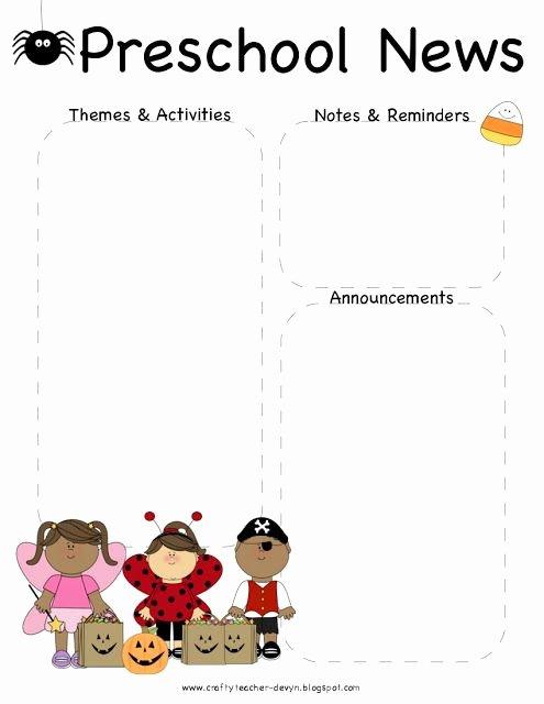 Free Kindergarten Newsletter Template New October Halloween Preschool Newsletter Template