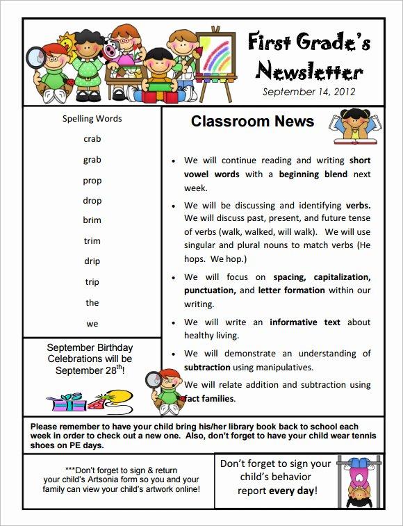 Free Kindergarten Newsletter Template Unique 10 Sample Kindergarten Newsletter Templates