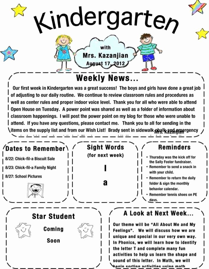 Free Kindergarten Newsletter Template Unique Download Kindergarten Newsletter Template 1 for Free