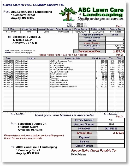Free Lawn Care Invoice Template Awesome Landscaping Invoice Template Free