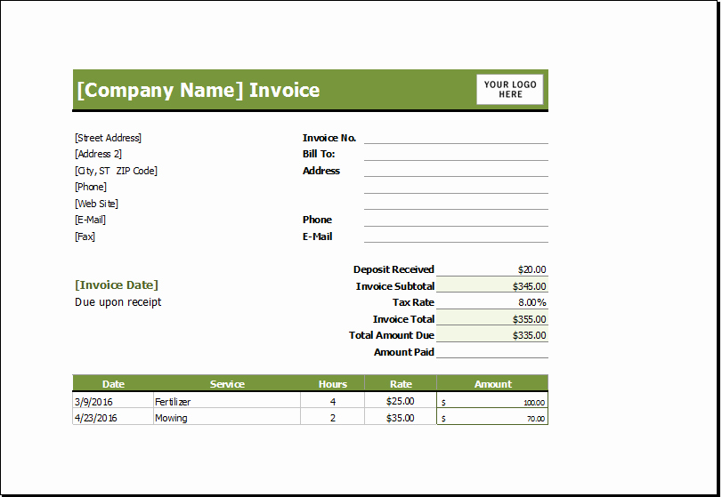 Free Lawn Care Invoice Template Best Of Lawn Mowing Receipt