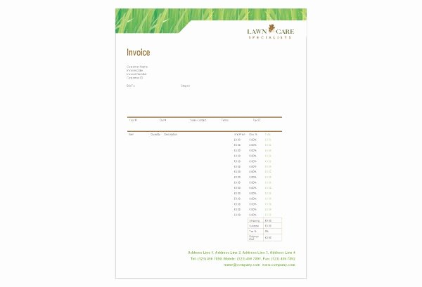 Free Lawn Care Invoice Template Elegant Free Landscaping Lawn Care Service Invoice Template Excel