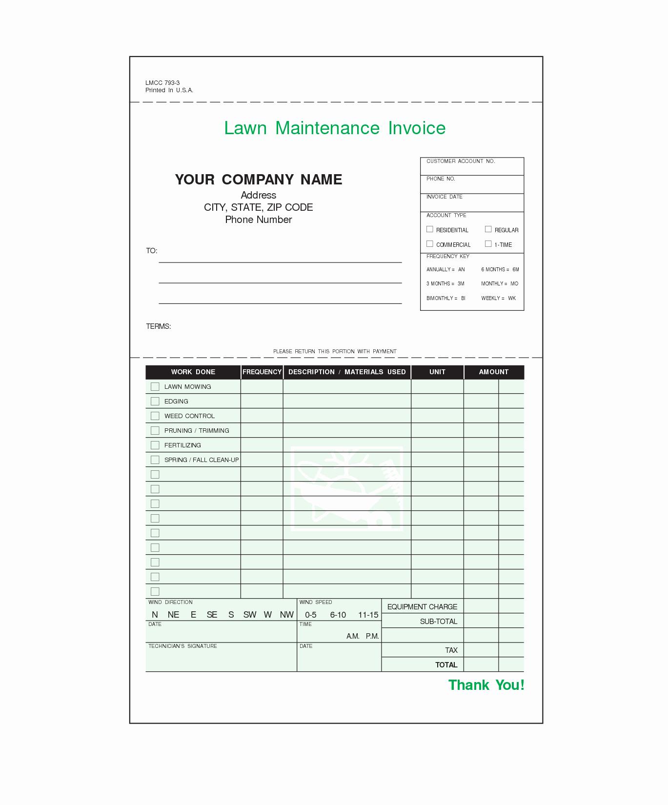 Free Lawn Care Invoice Template Elegant Lawn Care Invoice Template