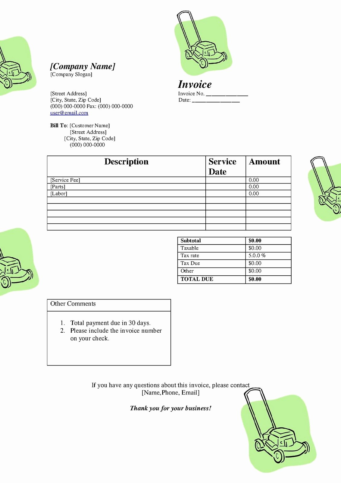 Free Lawn Care Invoice Template Inspirational Free Printable Invoice Template