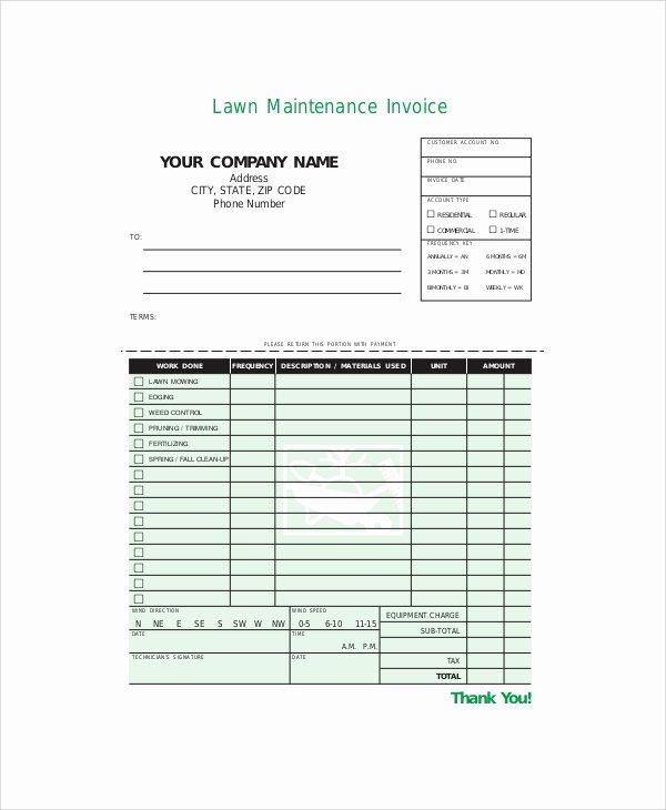 Free Lawn Care Invoice Template New 7 Sample Service Invoice Templates
