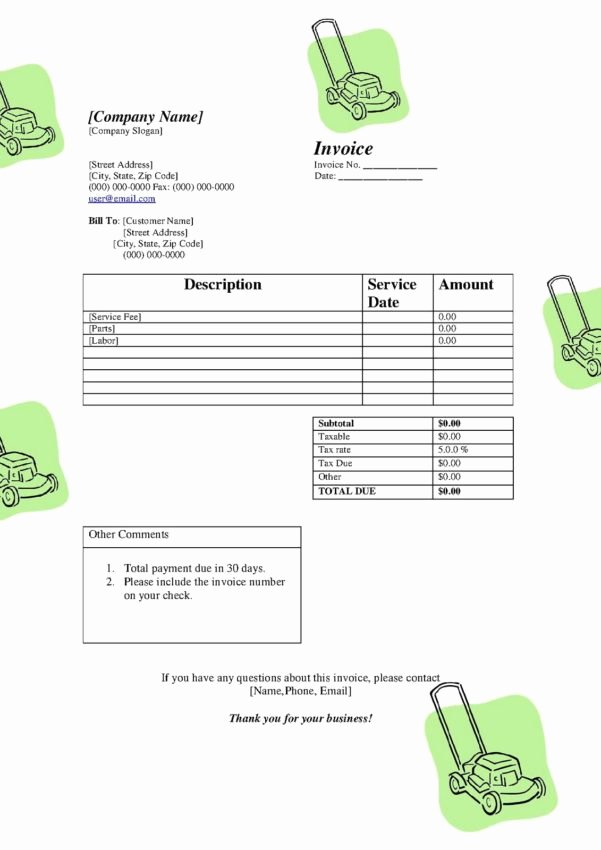 Free Lawn Care Invoice Template Unique Spreadsheet Template Handyman Invoice Monthly Invoice