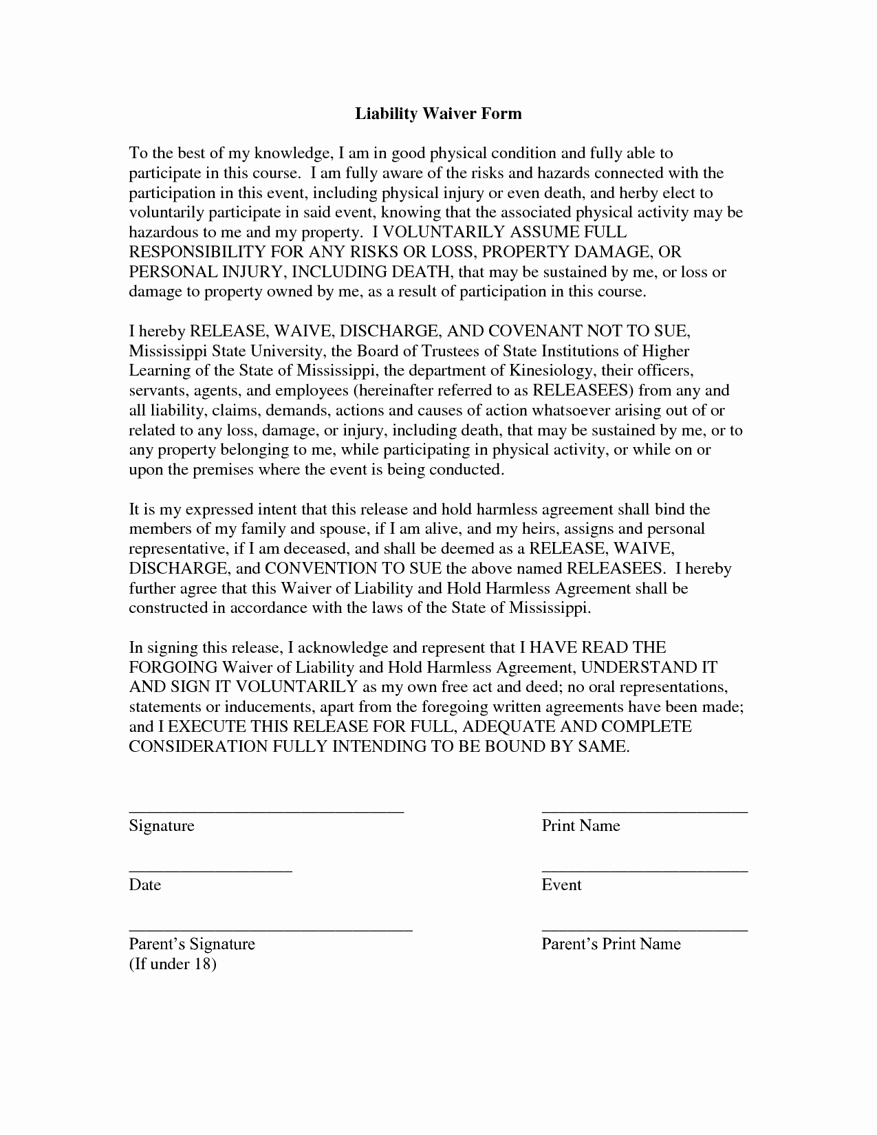 Free Liability Waiver Template Awesome Free Printable Liability form form Generic